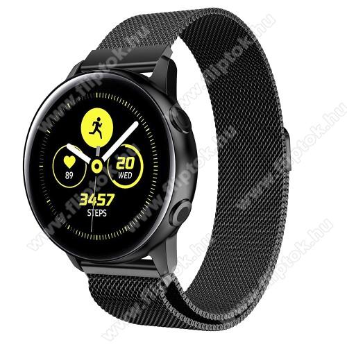 EVOLVEO SPORTWATCH M1SOkosóra milánói szíj - rozsdamentes acél, mágneses - 20mm széles, 140-225mm csuklóméretig ajánlott - FEKETE - SAMSUNG Galaxy Watch 42mm / Xiaomi Amazfit GTS / SAMSUNG Gear S2 / HUAWEI Watch GT 2 42mm / Galaxy Watch Active / Active 2