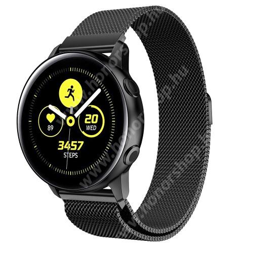 HUAWEI Honor MagicWatch 2 42mm Okosóra milánói szíj - rozsdamentes acél, mágneses - 20mm széles, 140-225mm csuklóméretig ajánlott - FEKETE - SAMSUNG Galaxy Watch 42mm / Xiaomi Amazfit GTS / SAMSUNG Gear S2 / HUAWEI Watch GT 2 42mm / Galaxy Watch Active / Active 2