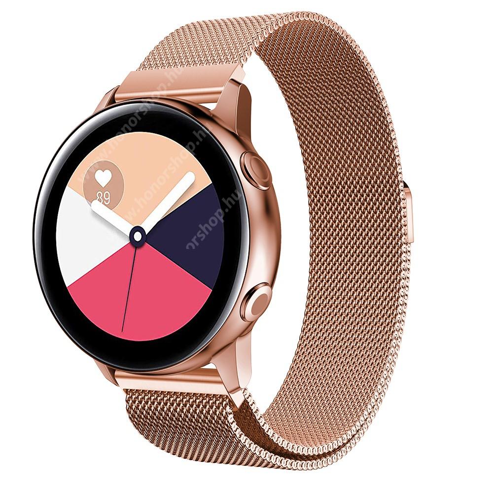 HUAWEI Honor MagicWatch 2 42mm Okosóra milánói szíj - rozsdamentes acél, mágneses - 235mm hosszú, 20mm széles, 140-225mm csuklóméretig ajánlott - ROSE GOLD - SAMSUNG Galaxy Watch 42mm / Xiaomi Amazfit GTS / SAMSUNG Gear S2 / HUAWEI Watch GT 2 42mm / Galaxy Watch Active / Active 2