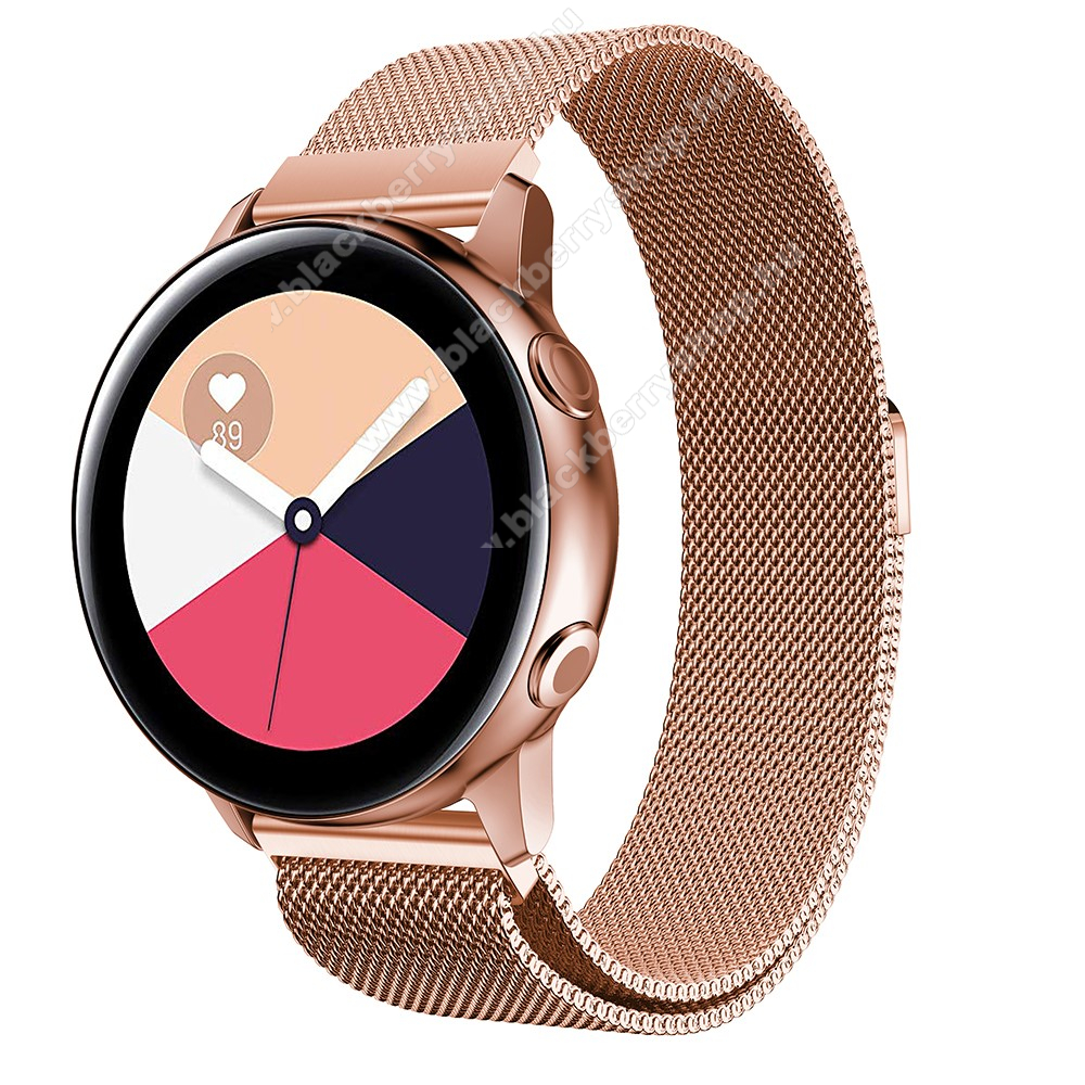 Okosóra milánói szíj - rozsdamentes acél, mágneses - 235mm hosszú, 20mm széles, 140-225mm csuklóméretig ajánlott - ROSE GOLD - SAMSUNG Galaxy Watch 42mm / Xiaomi Amazfit GTS / SAMSUNG Gear S2 / HUAWEI Watch GT 2 42mm / Galaxy Watch Active / Active 2