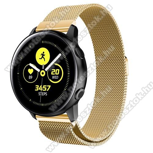 WOTCHI SmartWatch W22SOkosóra milánói szíj - rozsdamentes acél, mágneses - 235mm hosszú, 20mm széles, 140-225mm csuklóméretig ajánlott - ARANY - SAMSUNG Galaxy Watch 42mm / Xiaomi Amazfit GTS / SAMSUNG Gear S2 / HUAWEI Watch GT 2 42mm / Galaxy Watch Active / Active 2