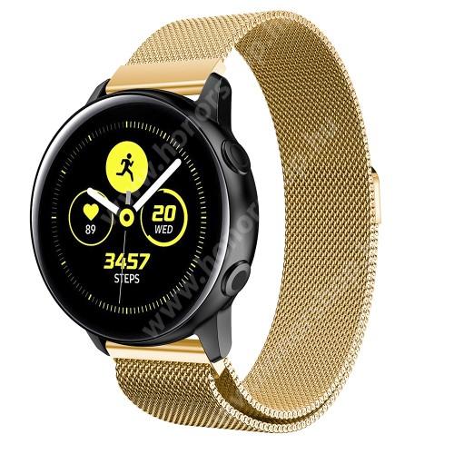 HUAWEI Honor MagicWatch 2 42mm Okosóra milánói szíj - rozsdamentes acél, mágneses - 235mm hosszú, 20mm széles, 140-225mm csuklóméretig ajánlott - ARANY - SAMSUNG Galaxy Watch 42mm / Xiaomi Amazfit GTS / SAMSUNG Gear S2 / HUAWEI Watch GT 2 42mm / Galaxy Watch Active / Active 2