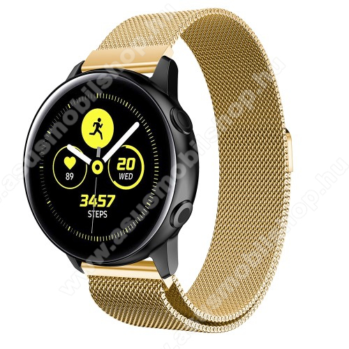 Okosóra milánói szíj - rozsdamentes acél, mágneses - 235mm hosszú, 20mm széles, 140-225mm csuklóméretig ajánlott - ARANY - SAMSUNG Galaxy Watch 42mm / Xiaomi Amazfit GTS / SAMSUNG Gear S2 / HUAWEI Watch GT 2 42mm / Galaxy Watch Active / Active 2