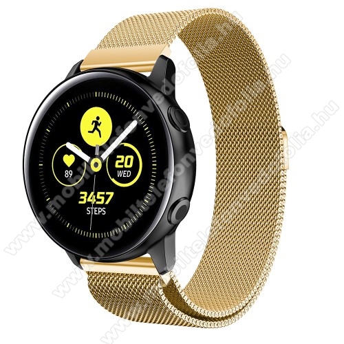Garmin VenuOkosóra milánói szíj - rozsdamentes acél, mágneses - 235mm hosszú, 20mm széles, 140-225mm csuklóméretig ajánlott - ARANY - SAMSUNG Galaxy Watch 42mm / Xiaomi Amazfit GTS / SAMSUNG Gear S2 / HUAWEI Watch GT 2 42mm / Galaxy Watch Active / Active 2