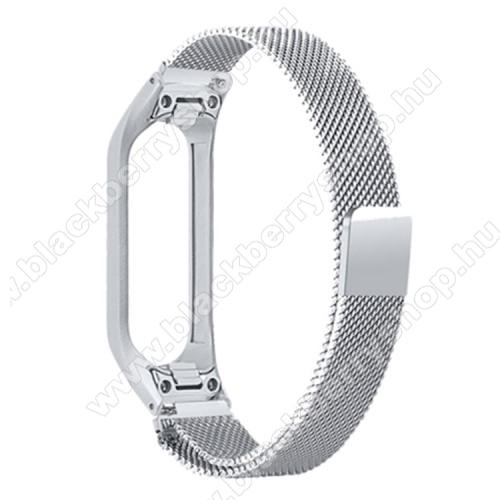 Okosóra milánói szíj - rozsdamentes acél, mágneses - EZÜST - max 203mm-es csuklóra - SAMSUNG SM-R375 Galaxy Fit e
