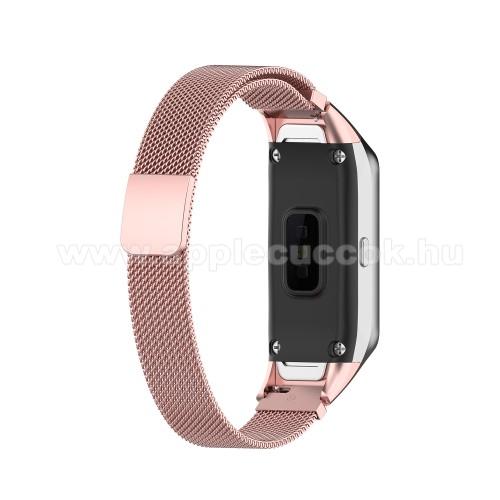 Okosóra milánói szíj - rozsdamentes acél, mágneses - ROSE GOLD - SAMSUNG SM-R370 Galaxy Fit