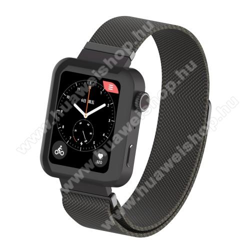 HUAWEI TalkBand B5Okosóra milánói szíj - rozsdamentes acél, mágneses - 230mm hosszú, 18mm széles, 160-270mm átmérőjű csuklóméretig - FEKETE - Xiaomi Mi Watch / Fossil Gen 4 / HUAWEI TalkBand B5