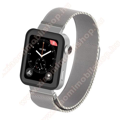 Okosóra milánói szíj - rozsdamentes acél, mágneses - 230mm hosszú, 160-270mm átmérőjű csuklóméretig - EZÜST - Xiaomi Mi Watch