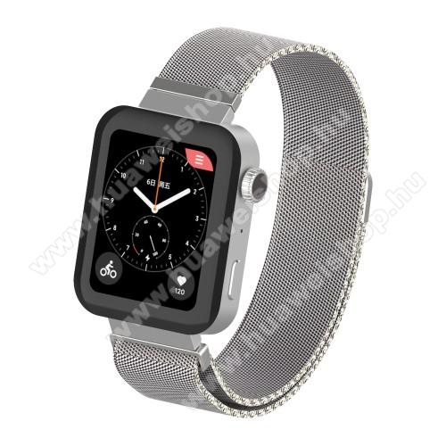 HUAWEI TalkBand B5Okosóra milánói szíj - rozsdamentes acél, mágneses - 230mm hosszú, 18mm széles, 160-270mm átmérőjű csuklóméretig - EZÜST - Xiaomi Mi Watch / Fossil Gen 4 / HUAWEI TalkBand B5