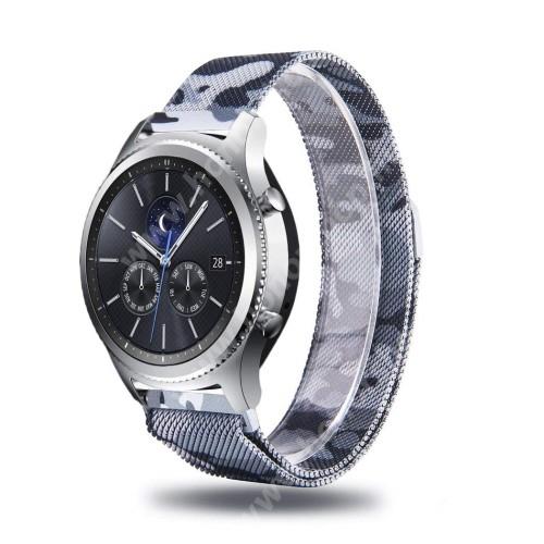 HUAWEI Watch GT 46mm Okosóra milánói szíj - rozsdamentes acél, mágneses, 22mm széles - SZÜRKE TEREPMINTÁS - SAMSUNG Galaxy Watch 46mm / SAMSUNG Gear S3 Classic / Gear S3 Frontier / Honor MagicWatch 2 46mm
