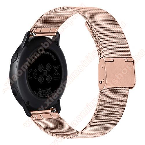 Okosóra milánói szíj - rozsdamentes acél, csatos - 20mm széles - ROSE GOLD - SAMSUNG Galaxy Watch 42mm / Xiaomi Amazfit GTS / SAMSUNG Gear S2 / HUAWEI Watch GT 2 42mm / Galaxy Watch Active / Active 2