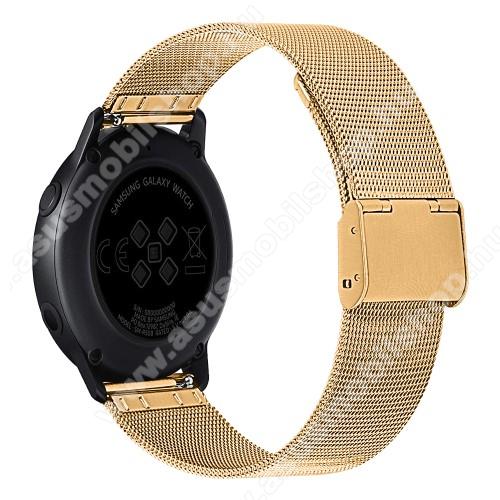 Okosóra milánói szíj - rozsdamentes acél, csatos - 20mm széles - ARANY - SAMSUNG Galaxy Watch 42mm / Xiaomi Amazfit GTS / SAMSUNG Gear S2 / HUAWEI Watch GT 2 42mm / Galaxy Watch Active / Active 2