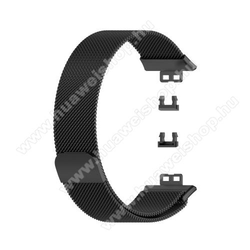Okosóra milánói szíj - rozsdamentes acél, mágneses - 210mm hosszú, 22.5mm széles - FEKETE - HUAWEI Watch Fit