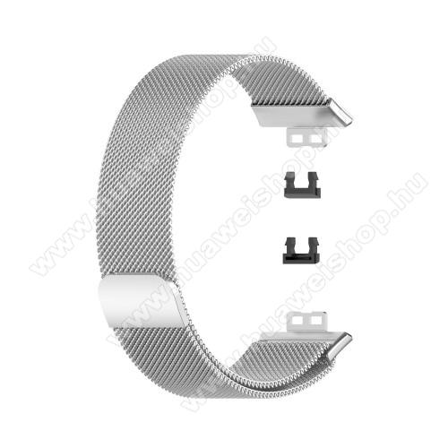 Okosóra milánói szíj - rozsdamentes acél, mágneses - 210mm hosszú, 22.5mm széles - EZÜST - HUAWEI Watch Fit