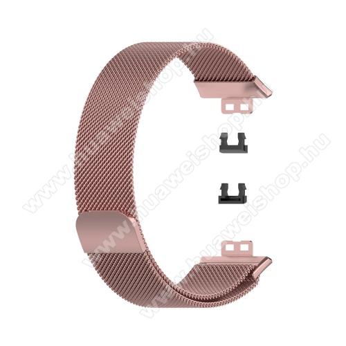 Okosóra milánói szíj - rozsdamentes acél, mágneses - 210mm hosszú, 22.5mm széles - RÓZSASZÍN - HUAWEI Watch Fit
