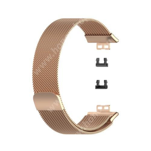 Okosóra milánói szíj - rozsdamentes acél, mágneses - 210mm hosszú - ROSE GOLD - HUAWEI Watch Fit