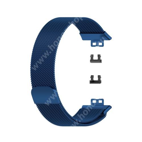 Okosóra milánói szíj - rozsdamentes acél, mágneses - 210mm hosszú, 22.5mm széles - SÖTÉTKÉK - HUAWEI Watch Fit