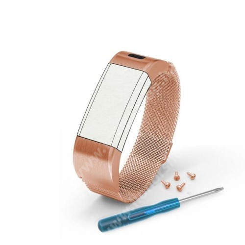Okosóra milánói szíj - rozsdamentes acél, mágneses - ARANY - 170mm hosszú - Garmin Vivosmart HR