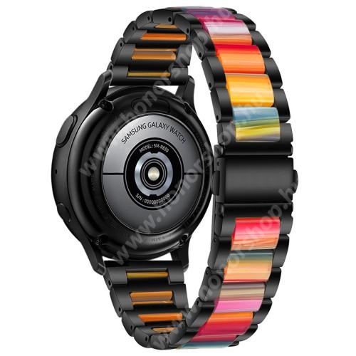 Okosóra műanyag / rozsdamentes acél szíj - FEKETE / SZÍNES - pillangó csat - 189mm hosszú, 22mm széles - SAMSUNG Galaxy Watch 46mm / Watch GT2 46mm / Watch GT 2e / Galaxy Watch3 45mm / Honor MagicWatch 2 46mm