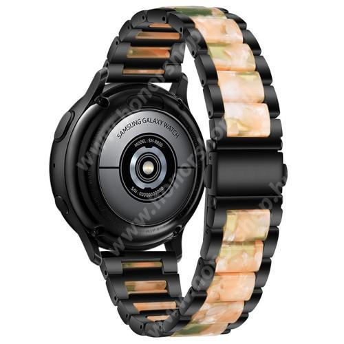 Okosóra műanyag / rozsdamentes acél szíj - FEKETE / RÓZSASZÍN / ZÖLD - pillangó csat - 189mm hosszú, 22mm széles - SAMSUNG Galaxy Watch 46mm / Watch GT2 46mm / Watch GT 2e / Galaxy Watch3 45mm / Honor MagicWatch 2 46mm