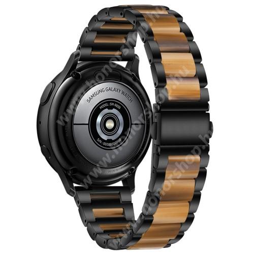 Okosóra műanyag / rozsdamentes acél szíj - FEKETE / BARNA - pillangó csat - 189mm hosszú, 22mm széles - SAMSUNG Galaxy Watch 46mm / Watch GT2 46mm / Watch GT 2e / Galaxy Watch3 45mm / Honor MagicWatch 2 46mm