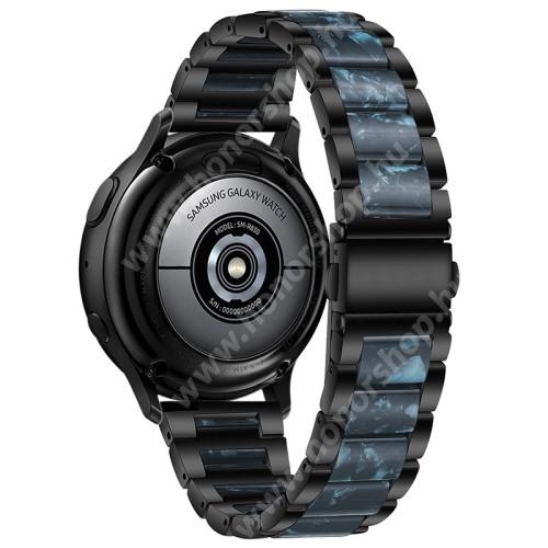 Okosóra műanyag / rozsdamentes acél szíj - FEKETE / SÖTÉTKÉK - pillangó csat - 189mm hosszú, 22mm széles - SAMSUNG Galaxy Watch 46mm / Watch GT2 46mm / Watch GT 2e / Galaxy Watch3 45mm / Honor MagicWatch 2 46mm