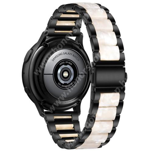 Okosóra műanyag / rozsdamentes acél szíj - FEKETE / GYÖNGYFEHÉR - pillangó csat - 189mm hosszú, 22mm széles - SAMSUNG Galaxy Watch 46mm / Watch GT2 46mm / Watch GT 2e / Galaxy Watch3 45mm / Honor MagicWatch 2 46mm