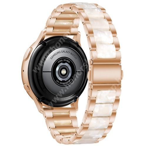 Okosóra műanyag / rozsdamentes acél szíj - ROSE GOLD / GYÖNGYFEHÉR - pillangó csat - 189mm hosszú, 22mm széles - SAMSUNG Galaxy Watch 46mm / Watch GT2 46mm / Watch GT 2e / Galaxy Watch3 45mm / Honor MagicWatch 2 46mm