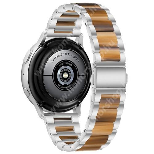 Okosóra műanyag / rozsdamentes acél szíj - EZÜST / BARNA - pillangó csat - 189mm hosszú, 22mm széles - SAMSUNG Galaxy Watch 46mm / Watch GT2 46mm / Watch GT 2e / Galaxy Watch3 45mm / Honor MagicWatch 2 46mm