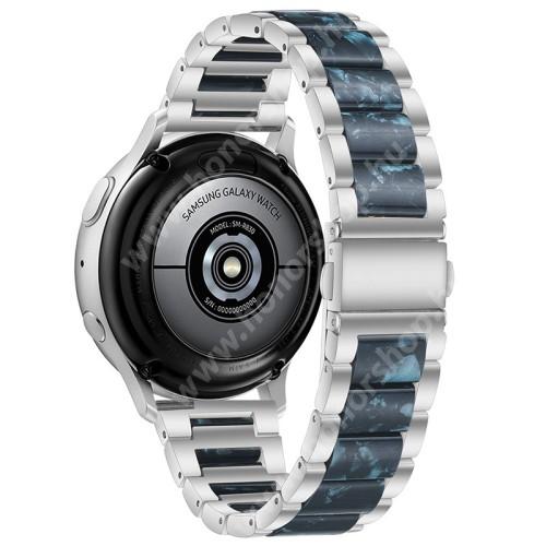 Okosóra műanyag / rozsdamentes acél szíj - EZÜST / SÖTÉTKÉK - pillangó csat - 189mm hosszú, 22mm széles - SAMSUNG Galaxy Watch 46mm / Watch GT2 46mm / Watch GT 2e / Galaxy Watch3 45mm / Honor MagicWatch 2 46mm
