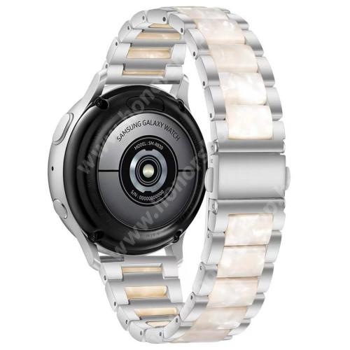 Okosóra műanyag / rozsdamentes acél szíj - EZÜST / GYÖNGYFEHÉR - pillangó csat - 189mm hosszú, 22mm széles - SAMSUNG Galaxy Watch 46mm / Watch GT2 46mm / Watch GT 2e / Galaxy Watch3 45mm / Honor MagicWatch 2 46mm