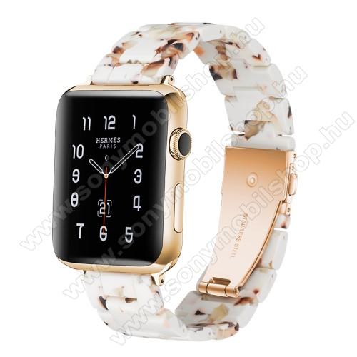 Okosóra műanyag szíj - 220mm hosszú, 22mm széles - FEHÉR / ARANY - HUAWEI Watch GT / HUAWEI Watch Magic / Watch GT 2 46mm / Honor MagicWatch 2 46mm