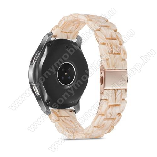 Okosóra műanyag szíj - BÉZS - csatos, 189mm hosszú, 22mm széles, 160-220mm-es méretű csuklóig ajánlott - SAMSUNG Galaxy Watch 46mm / Watch GT2 46mm / Watch GT 2e / Galaxy Watch3 45mm / Honor MagicWatch 2 46mm
