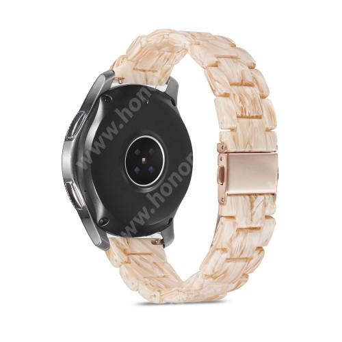 HUAWEI Watch GT 2 46mm Okosóra műanyag szíj - BÉZS - csatos, 189mm hosszú, 22mm széles, 160-220mm-es méretű csuklóig ajánlott - SAMSUNG Galaxy Watch 46mm / Watch GT2 46mm / Watch GT 2e / Galaxy Watch3 45mm / Honor MagicWatch 2 46mm