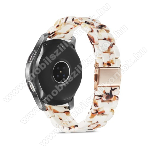 Okosóra műanyag szíj - FEHÉR / BARNA - csatos, 189mm hosszú, 22mm széles, 160-220mm-es méretű csuklóig ajánlott - SAMSUNG Galaxy Watch 46mm / Watch GT2 46mm / Watch GT 2e / Galaxy Watch3 45mm / Honor MagicWatch 2 46mm