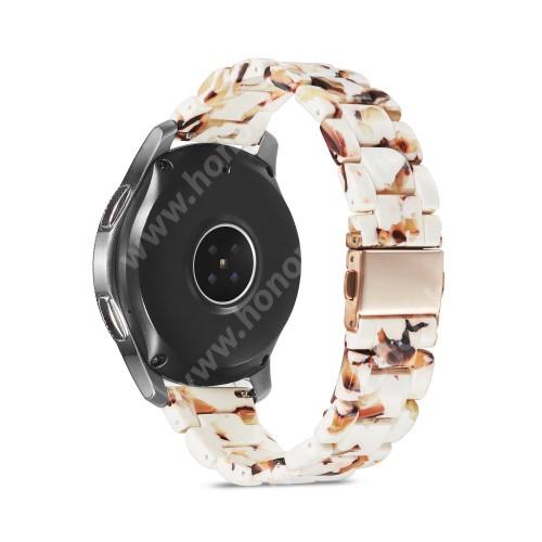 HUAWEI Watch GT 2 46mm Okosóra műanyag szíj - FEHÉR / BARNA - csatos, 189mm hosszú, 22mm széles, 160-220mm-es méretű csuklóig ajánlott - SAMSUNG Galaxy Watch 46mm / Watch GT2 46mm / Watch GT 2e / Galaxy Watch3 45mm / Honor MagicWatch 2 46mm