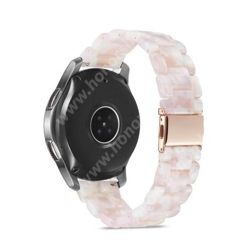 HUAWEI Watch GT 2 46mm Okosóra műanyag szíj - FEHÉR - csatos, 189mm hosszú, 22mm széles, 160-220mm-es méretű csuklóig ajánlott - SAMSUNG Galaxy Watch 46mm / Watch GT2 46mm / Watch GT 2e / Galaxy Watch3 45mm / Honor MagicWatch 2 46mm