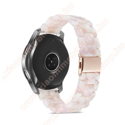 Okosóra műanyag szíj - FEHÉR - csatos, 189mm hosszú, 22mm széles, 160-220mm-es méretű csuklóig ajánlott - SAMSUNG Galaxy Watch 46mm / Watch GT2 46mm / Watch GT 2e / Galaxy Watch3 45mm / Honor MagicWatch 2 46mm