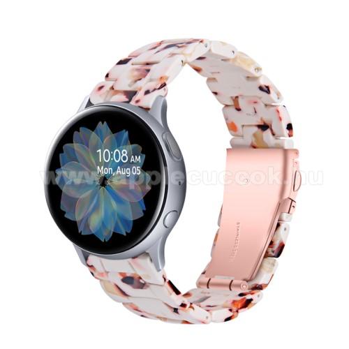 Okosóra műanyag szíj - FEHÉR / NARANCSSÁRGA - pillangó csat - 192mm hosszú, 20mm széles, 145-200mm-es méretű csuklóig ajánlott - SAMSUNG Galaxy Watch 42mm / Amazfit GTS / Galaxy Watch3 41mm / HUAWEI Watch GT 2 42mm / Galaxy Watch Active / Active 2