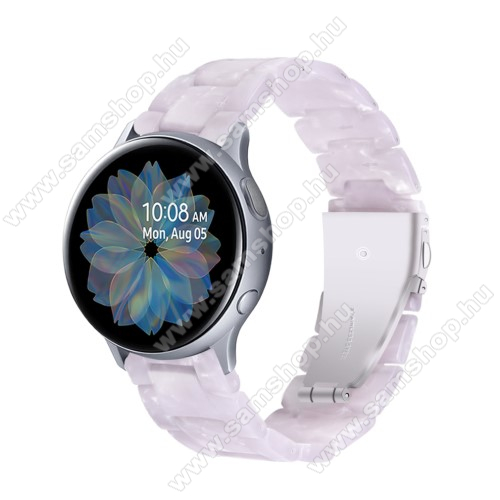 Okosóra műanyag szíj - FEHÉR - pillangó csat - 192mm hosszú, 20mm széles, 145-200mm-es méretű csuklóig ajánlott - SAMSUNG Galaxy Watch 42mm / Amazfit GTS / Galaxy Watch3 41mm / HUAWEI Watch GT 2 42mm / Galaxy Watch Active / Active 2