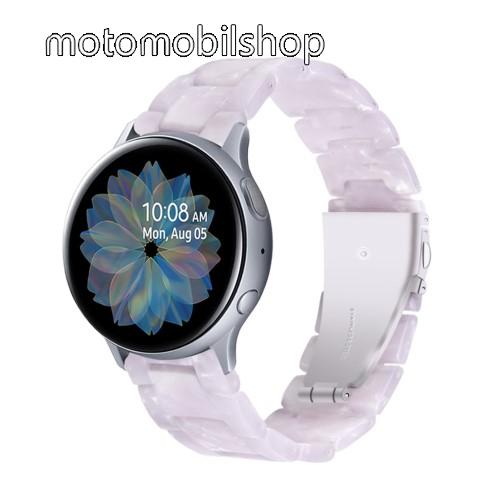 Okosóra műanyag szíj - FEHÉR - pillangó csat - 192mm hosszú, 20mm széles, 145-200mm-es méretű csuklóig ajánlott - SAMSUNG Galaxy Watch 42mm / Amazfit GTS / Galaxy Watch3 41mm / HUAWEI Watch GT 2 42mm / Galaxy Watch Active / Active 2