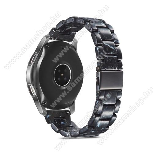 Okosóra műanyag szíj - FEKETE - csatos, 189mm hosszú, 22mm széles, 160-220mm-es méretű csuklóig ajánlott - SAMSUNG Galaxy Watch 46mm / Watch GT2 46mm / Watch GT 2e / Galaxy Watch3 45mm / Honor MagicWatch 2 46mm