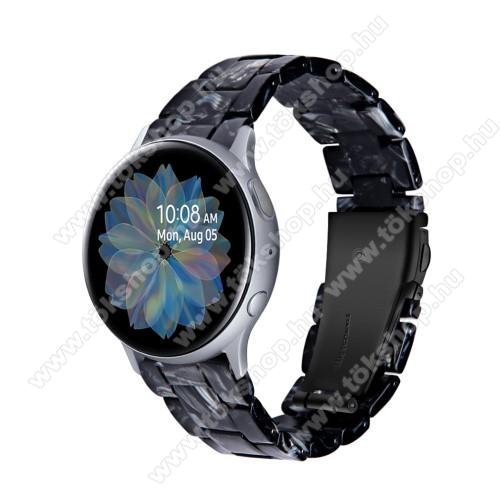 Okosóra műanyag szíj - FEKETE / FEHÉR - pillangó csat - 192mm hosszú, 20mm széles, 145-200mm-es méretű csuklóig ajánlott - SAMSUNG Galaxy Watch 42mm / Amazfit GTS / Galaxy Watch3 41mm / HUAWEI Watch GT 2 42mm / Galaxy Watch Active / Active 2