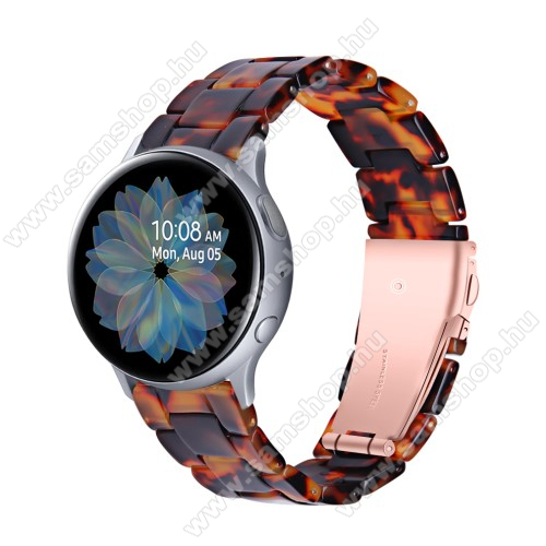 Okosóra műanyag szíj - FEKETE / NARANCS - pillangó csat - 192mm hosszú, 20mm széles, 145-200mm-es méretű csuklóig ajánlott - SAMSUNG Galaxy Watch 42mm / Amazfit GTS / Galaxy Watch3 41mm / HUAWEI Watch GT 2 42mm / Galaxy Watch Active / Active 2