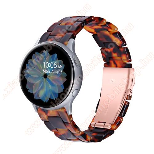 Okosóra műanyag szíj - FEKETE / NARANCS - pillangó csat - 192mm hosszú, 20mm széles, 145-200mm-es méretű csuklóig ajánlott - SAMSUNG Galaxy Watch 42mm / Amazfit GTS / Galaxy Watch3 41mm / HUAWEI Watch GT 2 42mm / Galaxy Watch Active / Active 2