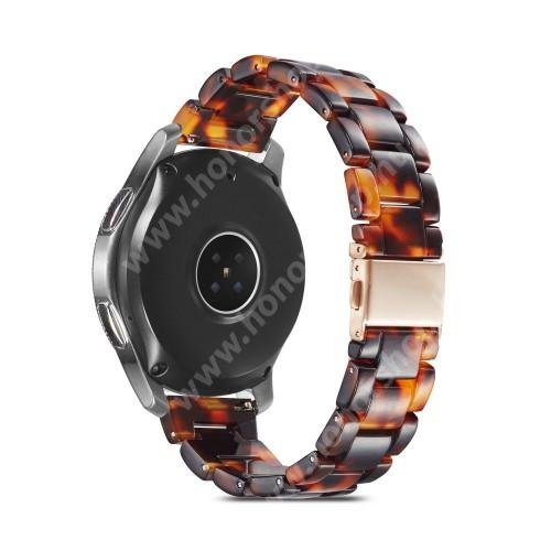 Okosóra műanyag szíj - FEKETE / SÁRGA - csatos, 189mm hosszú, 22mm széles, 160-220mm-es méretű csuklóig ajánlott - SAMSUNG Galaxy Watch 46mm / Watch GT2 46mm / Watch GT 2e / Galaxy Watch3 45mm / Honor MagicWatch 2 46mm