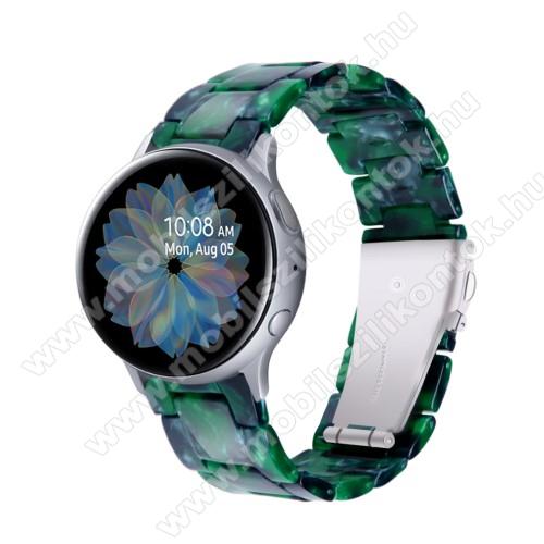 Okosóra műanyag szíj - FEKETE / ZÖLD - pillangó csat - 192mm hosszú, 20mm széles, 145-200mm-es méretű csuklóig ajánlott - SAMSUNG Galaxy Watch 42mm / Amazfit GTS / Galaxy Watch3 41mm / HUAWEI Watch GT 2 42mm / Galaxy Watch Active / Active 2