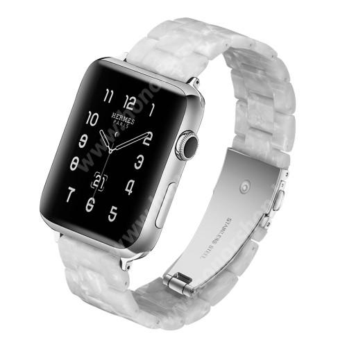 HUAWEI Watch GT 2 46mm Okosóra műanyag szíj - GYÖNGYHÁZ FEHÉR - pillangó csat - 165mm hosszú, 22mm széles - SAMSUNG Galaxy Watch 46mm / Huawei Watch GT 2 46mm / Gear S3 Frontier / Honor MagicWatch 2 46mm