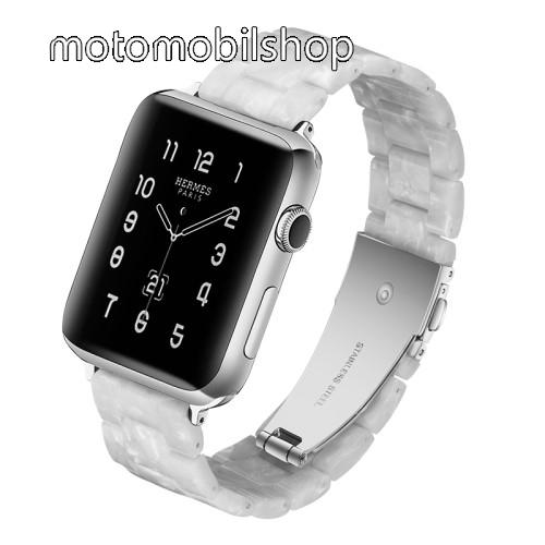 Okosóra műanyag szíj - GYÖNGYHÁZ FEHÉR - pillangó csat - 165mm hosszú, 22mm széles - SAMSUNG Galaxy Watch 46mm / Huawei Watch GT 2 46mm / Gear S3 Frontier / Honor MagicWatch 2 46mm