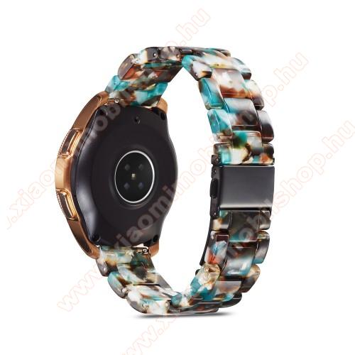 Okosóra műanyag szíj - KÉK / FEHÉR / FEKETE - csatos, 189mm hosszú, 22mm széles, 160-220mm-es méretű csuklóig ajánlott - SAMSUNG Galaxy Watch 46mm / Watch GT2 46mm / Watch GT 2e / Galaxy Watch3 45mm / Honor MagicWatch 2 46mm